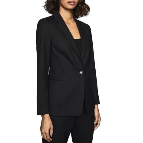 Reiss Black Hartley Textured Wool Blend Blazer