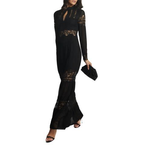Reiss Black Miranda Open Back Maxi Dress