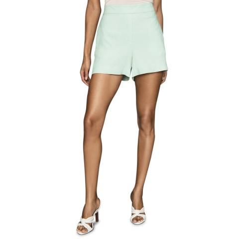 Reiss Green Lana Plisse Shorts