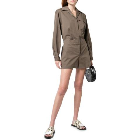 Theory Brown Trucker Styled Playsuit