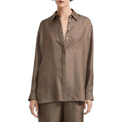 Theory Brown Dot Silk Oversized Shirt