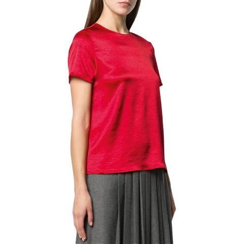 Theory Red Woven Satin T-Shirt