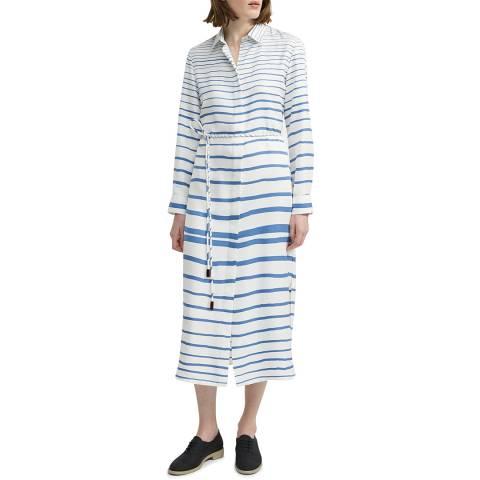 Theory Blue Silk Belted Shirt Dress