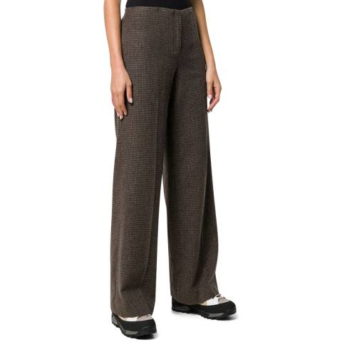 Theory Brown Houndstooth Wool Blend Trousers