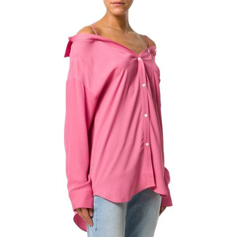 Theory Pink Tamalee Off The Shoulder Shirt
