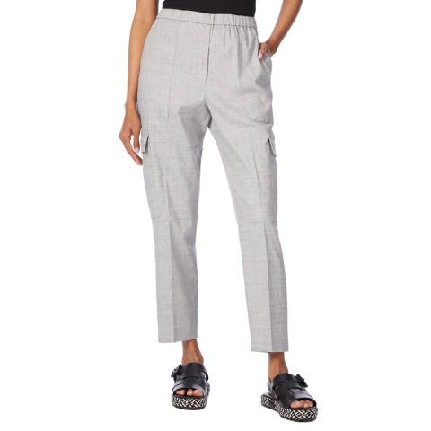Theory Grey Linen Blend Cargo Trousers