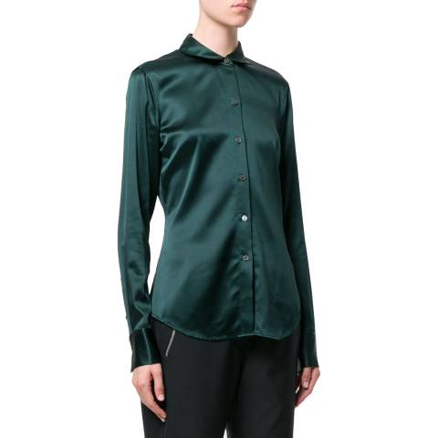 Theory Blue Perfect Silk Blend Fitted Shirt