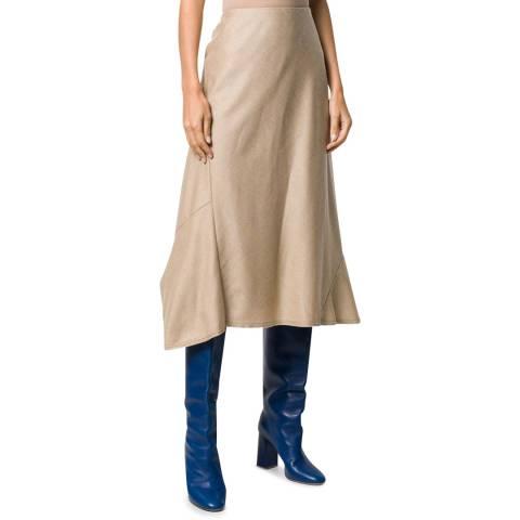 Theory Beige Bias Seam Wool Skirt