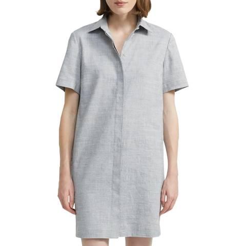 Theory Blue Buttondown Linen Blend Shirt Dress