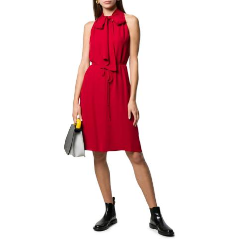 Theory Red Halter Neck Scarf Dress
