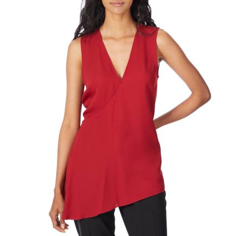 Theory Red Silk Fluid Top