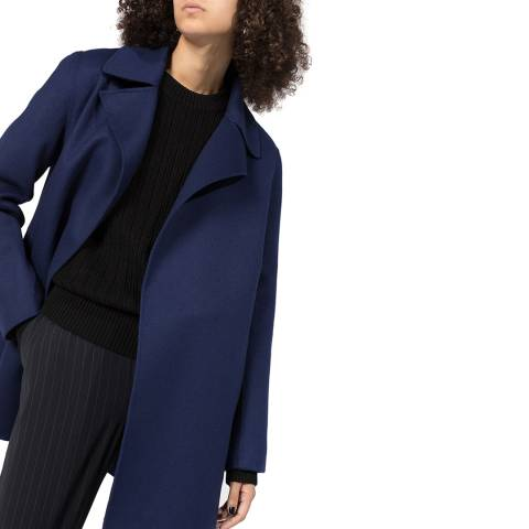 Theory Navy Overlay Cashmere Blend Coat