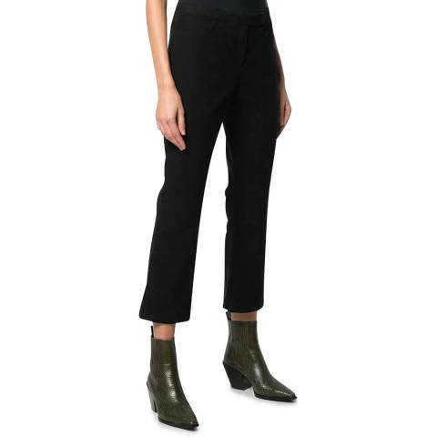 Theory Black Cropped Moleskin Trousers