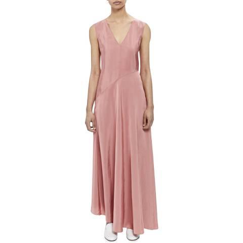 Theory Pink V Neck Draped Dress