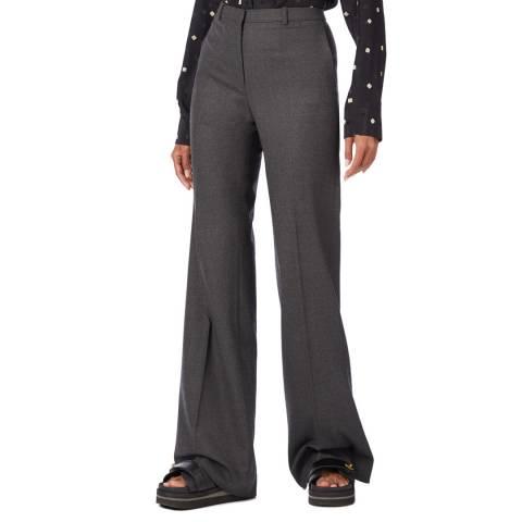 Theory Grey Demitria Wool Blend Flared Trousers