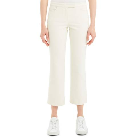 Theory White Cropped Moleskin Trousers