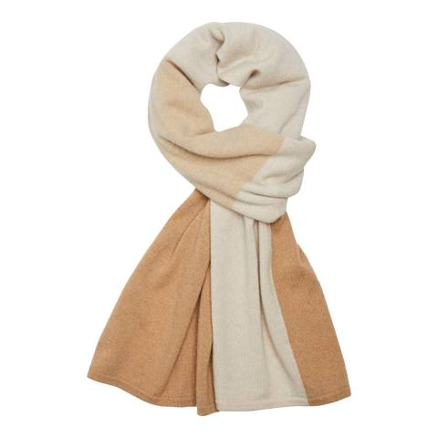 Theory Beige Patchwork Cashmere Scarf