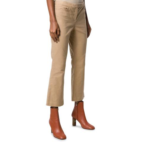 Theory Brown Cropped Cotton Trousers