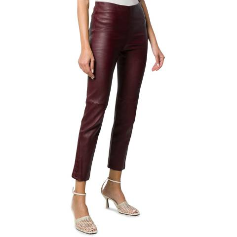 Theory Brown Leather Snap Leggings
