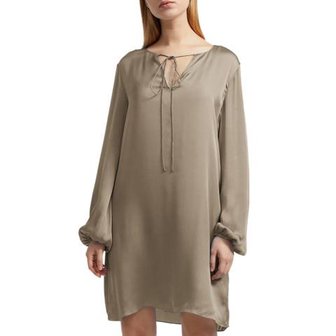 Theory Green Silk Shirred Dress