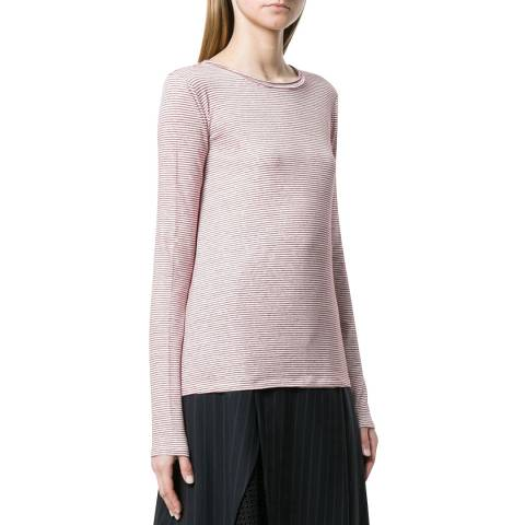 Theory Red/White Basic Linen Strip Top