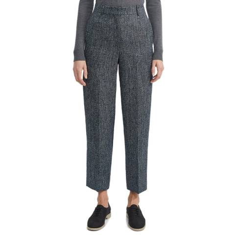 Theory Navy Linen Blend Straight Trousers