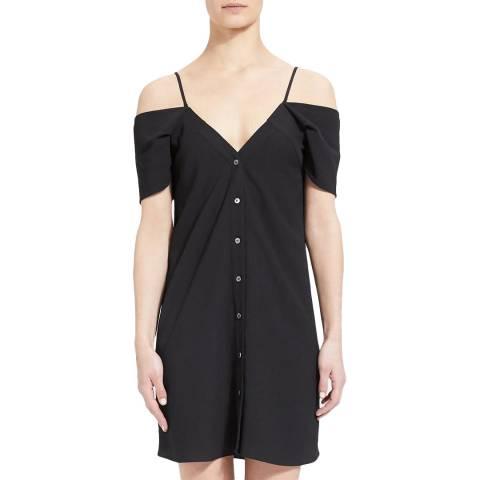 Theory Black Front Button Mini Dress