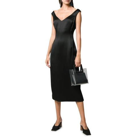 Theory Black Paneled Off The Shoulder Dress