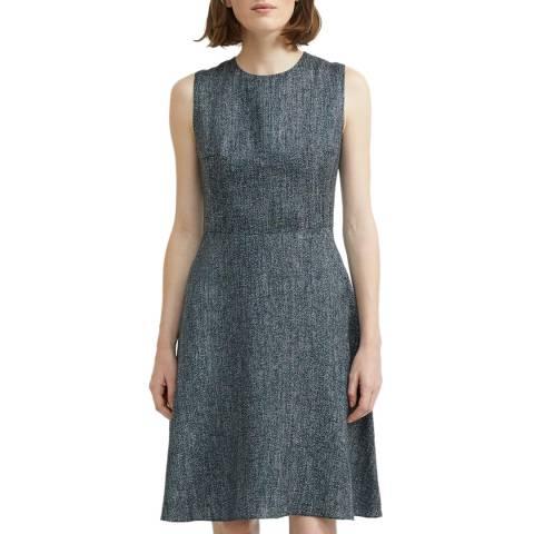 Theory Navy Herringbone Linen Blend Dress