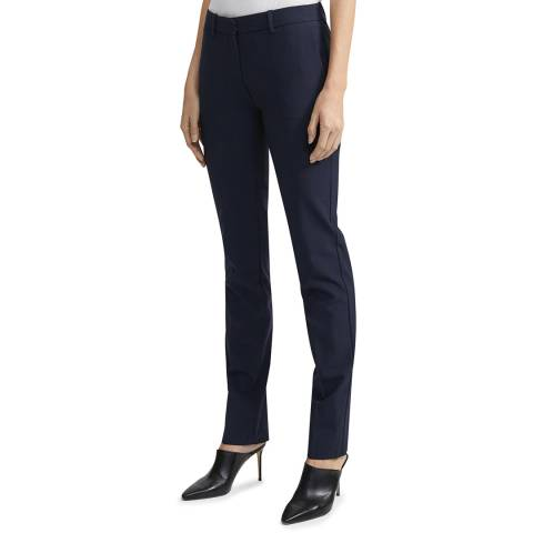 Theory Navy Super Slim Wool Blend Trousers