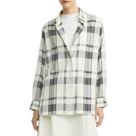 Theory White Silk Blend Oversized Shirt