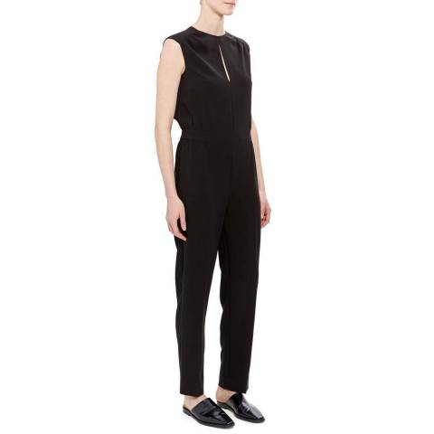 Theory Black Shirred Jumpsuit