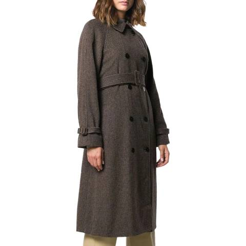 Theory Brown Wool Blend Classic Trench Coat