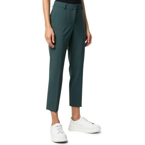 Theory Green Slim Treeca Wool Blend Trousers