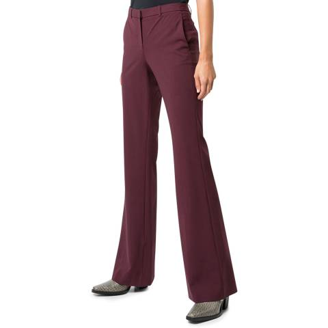 Theory Red Flared Demitria Wool Blend Trousers