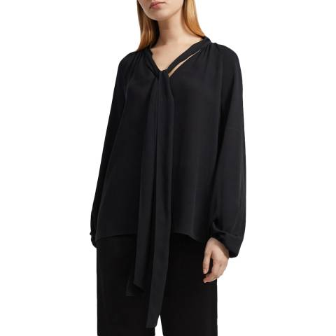 Theory Black Scarf Neck Top