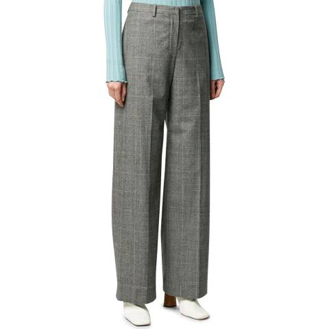 Theory Black Check Wool Blend Trousers