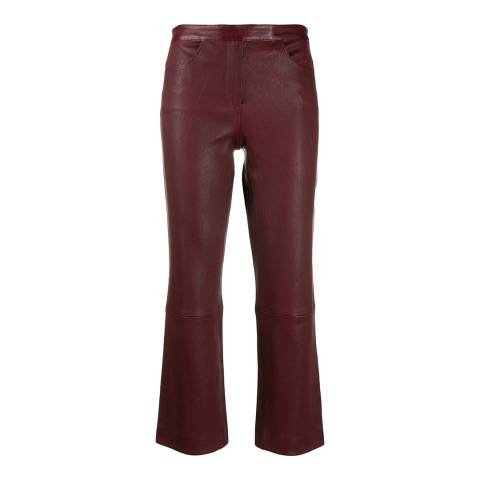 Theory Red Leather Cropped Trousers