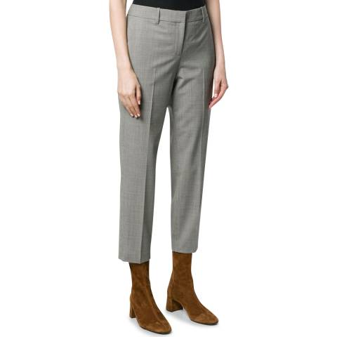 Theory Grey Cropped Treeca Wool Blend Trousers