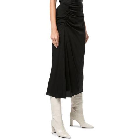 Theory Black Midi Silk Blend Twisted Skirt