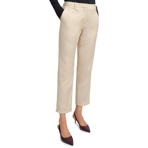Theory Cream Slim Fit Cropped Trousers