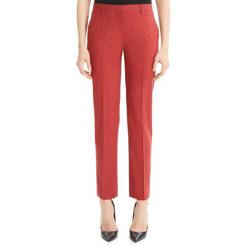 Theory Red Wool Blend Tailored Trousers