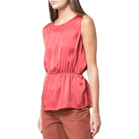 Theory Light Cranberry Shirred Tank Top