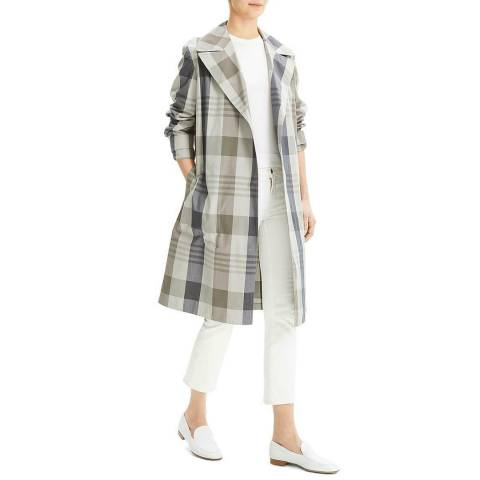 Theory Multi Plaid Silk Blend Militry Trench Coat