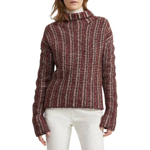 Theory Brown Hazy Day Inlay Turtle Neck Jumper