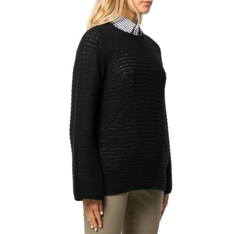Theory Black Striped Cashmere Jumper