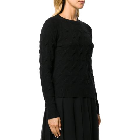 Theory Black Tucked Cashmere Jumper