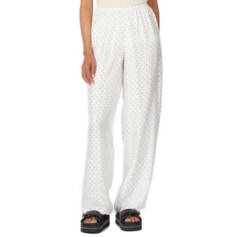 Theory White Dot Print Silk Trousers