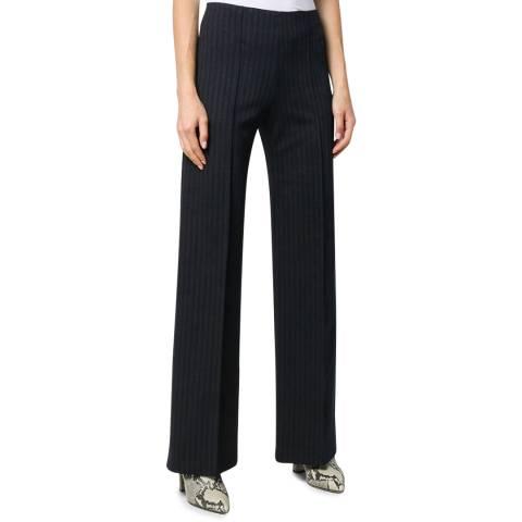 Theory Dark Grey Wide Leg Striped Trousers