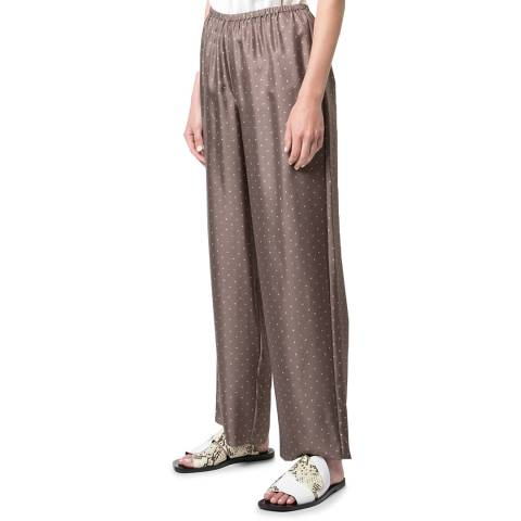 Theory Brown Dot Print Silk Trousers